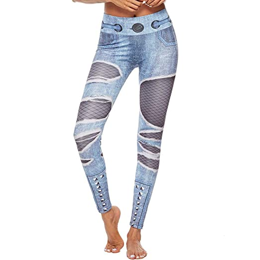 7ffcecd4d20c3 Kanzd Women Pants Women Workout Shredded Jeans Print Leggings Fitness Sport  Gym Yoga Athletic Pant (