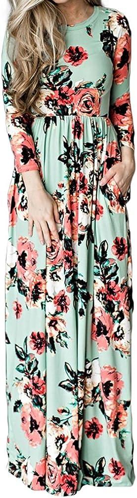 TALLA (EU36-38)S. Lover-Beauty Vestido Largo Floral Print Casual para Noche Fiesta Playa Fiesta Manga Larga Cuello Redondo Vestido Verano Cuello V Verde 2 (EU36-38)S