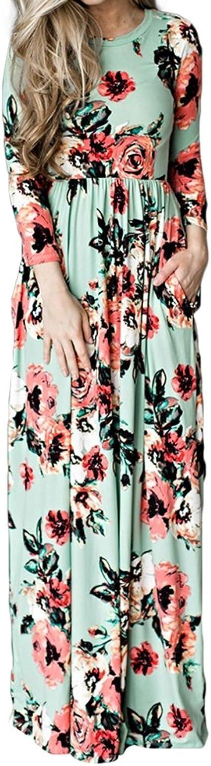 TALLA (EU44-46)L. Lover-Beauty Vestido Largo Floral Print Casual para Noche Fiesta Playa Fiesta Manga Larga Cuello Redondo Vestido Verano Cuello V Verde 2 (EU44-46)L