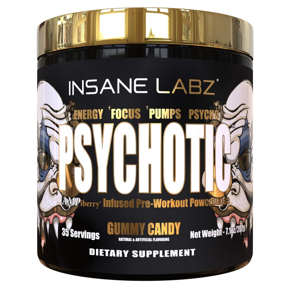 Insane Labz Psychotic Gold, High Stimulant Pre Workout Powder, Extreme Lasting Energy, Focus, Pumps and Endurance with Beta Alanine, DMAE Bitartrate, Citrulline, NO Booster, 35 Srvgs, Gummy Candy by Insane Labz