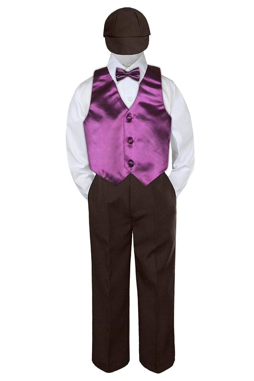 7 5pc Baby Toddler Kid Boys Brown Pants Hat Bow Tie Eggplant Vest Suits Set