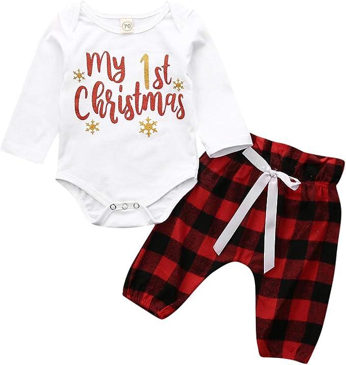 Amazon.com: 3 piezas Bebé Niño Niña Trajes de Navidad Rojo ...