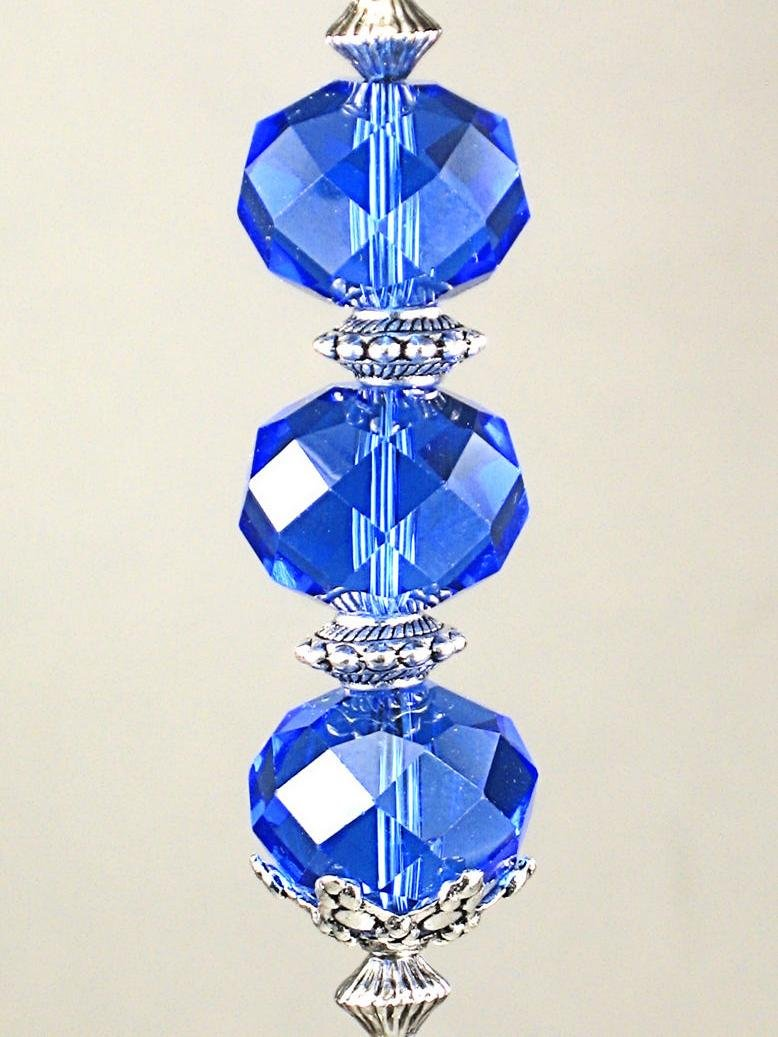 Brilliant Rich Blue Faceted Glass Ceiling Fan Pull/Light Pull Chain by Trace Ellements