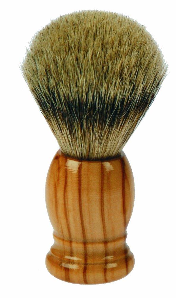 Fantasia - Pennello da barba, legno d'olivo, puro tasso, altezza 10 cm, Ø 3,5 cm, punte colore: Argento legno d'olivo Ø 3 84058
