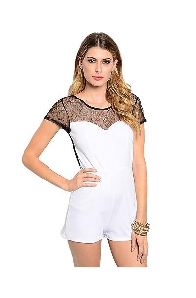 1fc93a1c3d77 Amazon.com  2LUV Women s Cap Sleeve Romper W  Lace Neckline White   Black  L  Clothing