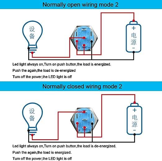 Commutateur Bouton-Poussoir 16mm 24V 5A Interrupteur /à Bouton-Poussoir Momentan/é Bleu LED Interrupteur Etanche IP67 avec Fil de Prise de Courant QitinDasen 3Pcs Premium 12V
