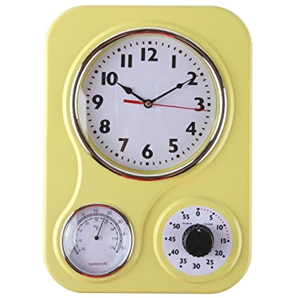 amazon com lily s home retro kitchen wall clock with a thermometer