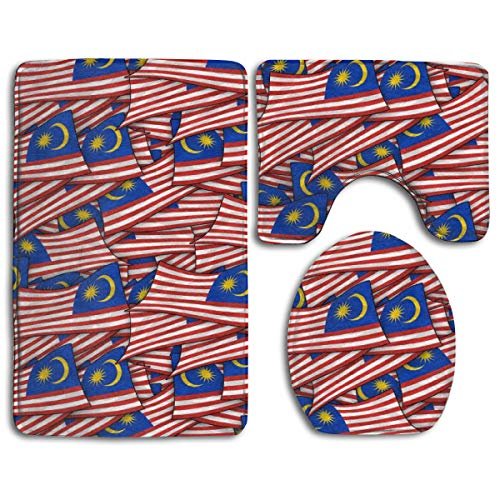 Bathroom Rug Mats Set 3 Piece Malaysia Flag Wave Collage Ultra Soft Non Slip and Absorbent Bath Mat (20