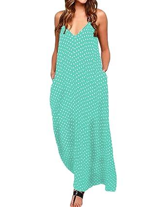 22f51bfbed Zanzea femmes élégant bohème Coton Casual robe FLUIDE Long plage Pois Col V  sans manches - - 36: Amazon.fr: Vêtements et accessoires