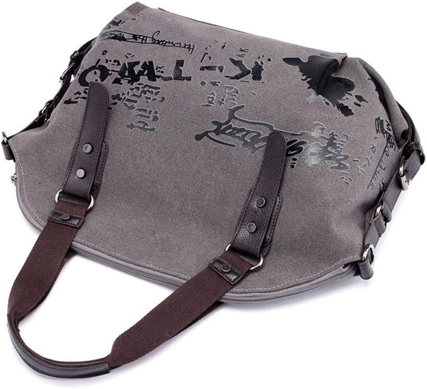 Color : Purple, Size : Free Size Ladies Casual Vintage Hobo Canvas Messenger Top Handle Large Tote Shopper Handbag Shopping Graffiti Style Bags