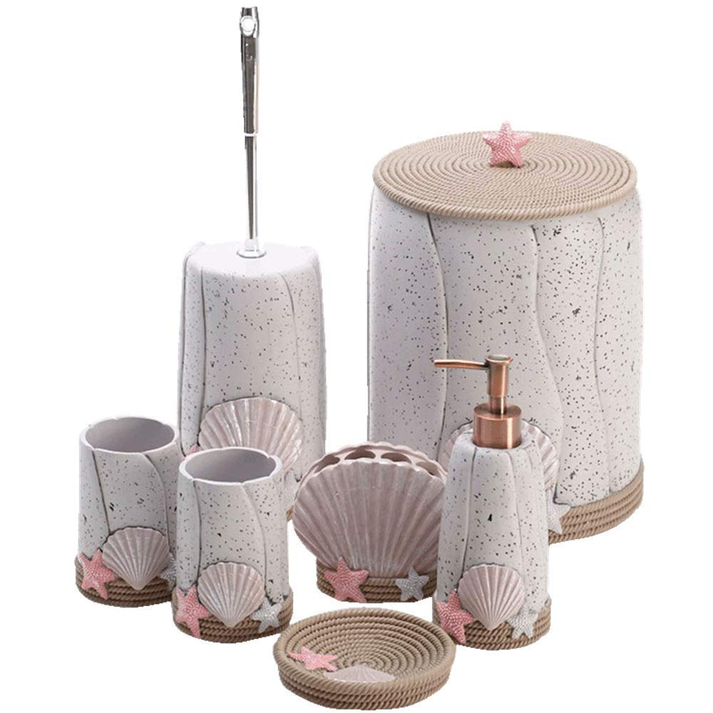 QiXian Beach Shell Bathroom Seven Piece Resin Bathroom Bathroom Kit Wash Kit Toilet Brush Bucket Trash Toilet Brush Holder Strong Sturdy