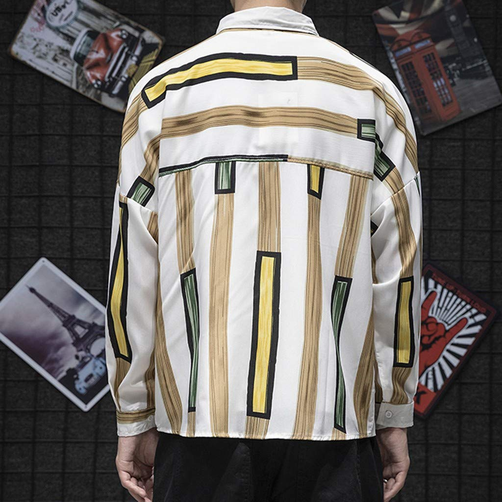 DDLmax Mens Japanese Striped Shirt Fashion Long Sleeves Comfortable Shirt Blouse