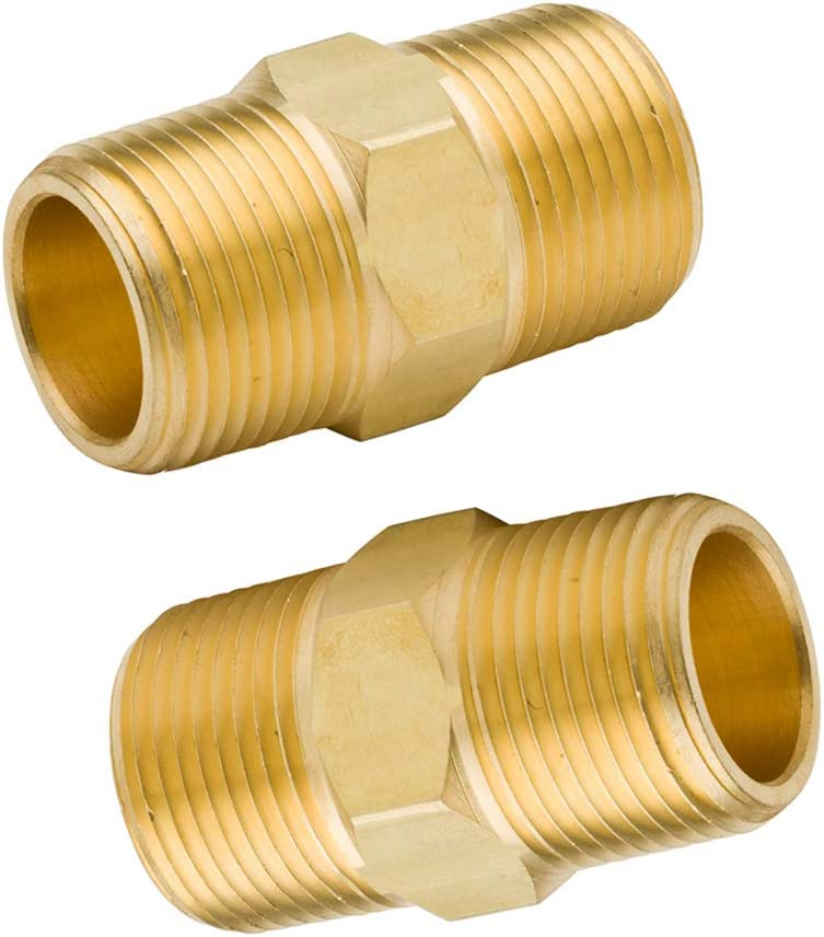 Pack of 2 Legines Brass NPT Hex Nipple 1 Male x 1 Male Pipe Fitting