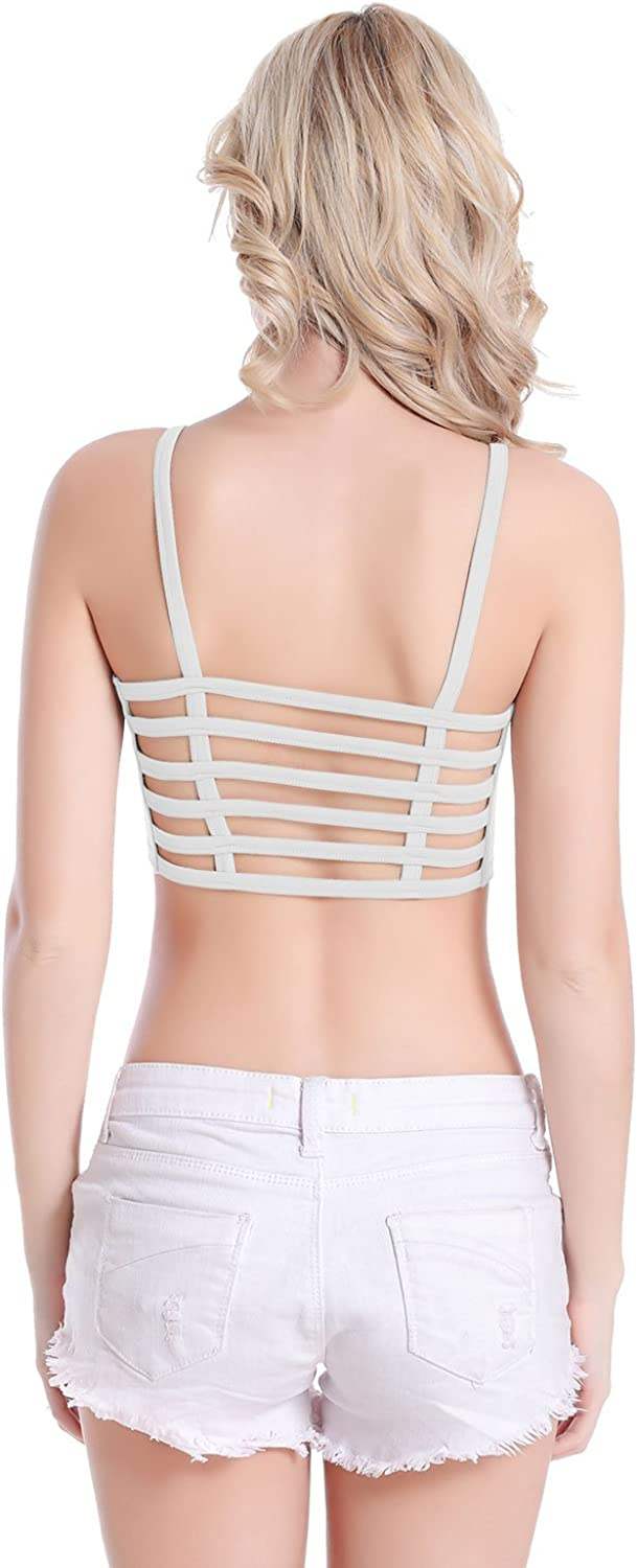 Ensnovo Womens Running Yoga Sports Bra Wrapped Chest with Removable Pads