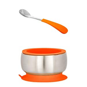 Avanchy Stainless Steel Silicon Suction Bowl & Spoon - Stainless Steel Kids Bowls - Suction Bowls with Lids - Silicon Suction - Stay Put Bowl (Orange)