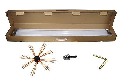 Flex Barra Kit deshollinador Escobón para tubo de barras con 10 barras de limpieza (por