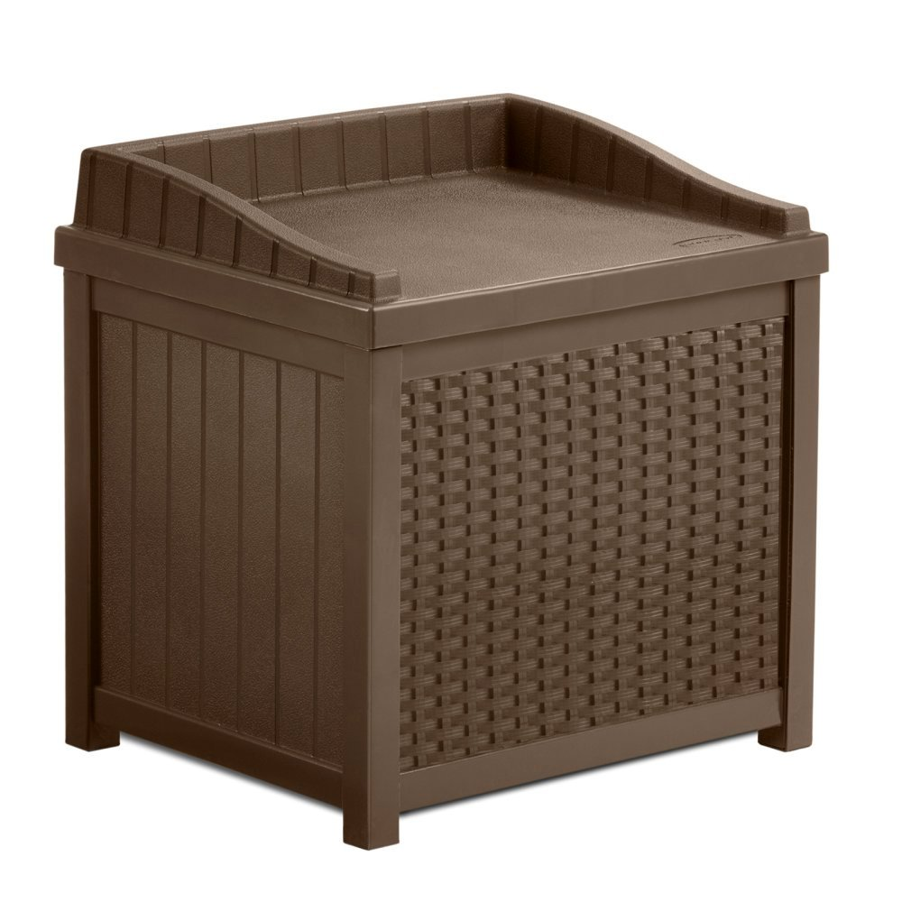 22 Gallon Storage Bench Seat & Garden Outdoor Box W/ Resin Decorative Woven Effect in Mocha Brown Color SSW1200