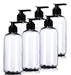 8oz Plastic Clear Bottles (6 Pack) BPA-Free Squeeze Containers with Pump Cap, Labels Included