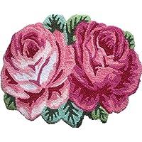 YOUSA Anti-Skid Area Rug Rose Shaped Bath Mat Floral Doormat 2-Rose