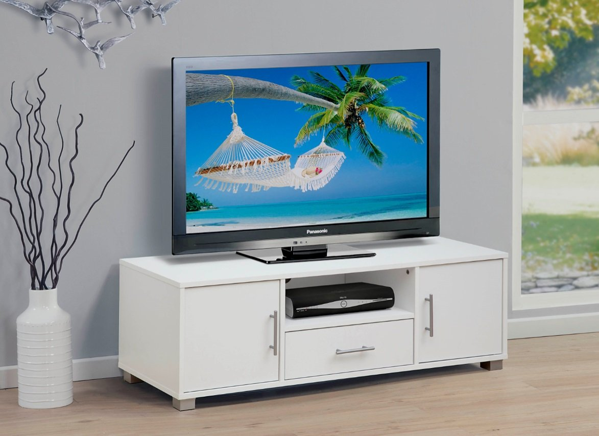 Home Source TV Stand Entertainment Unit 1 Drawer 2 Door White Cabinet Flat Screen Sorrento