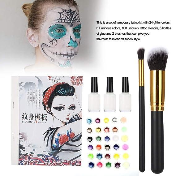 Kit de tatuajes con purpurina, 24 colores de brillo, 6 colores ...