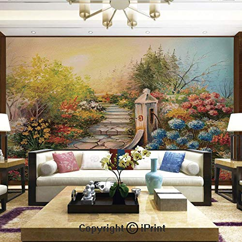 - Mural Wall Art Photo Decor Wall Mural for Living Room or Bedroom,Opium Poppy Field and Beautiful Yard Sunset Over The Ocean Under The Clouds Picture,Home Decor - 66x96 inches