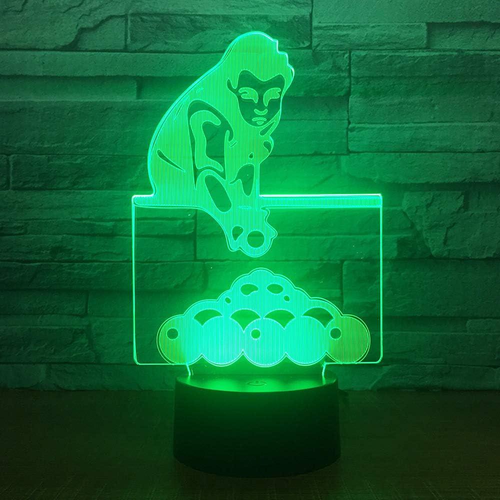 Juego de billar wangZJ Lámpara de ilusión 3d / Regalo de navidad/Luz de noche/Lámpara de mesa al lado / 7 colores/Lámparas de decoración/Regalo de cumpleaños/Control remoto táctil: Amazon.es: Iluminación