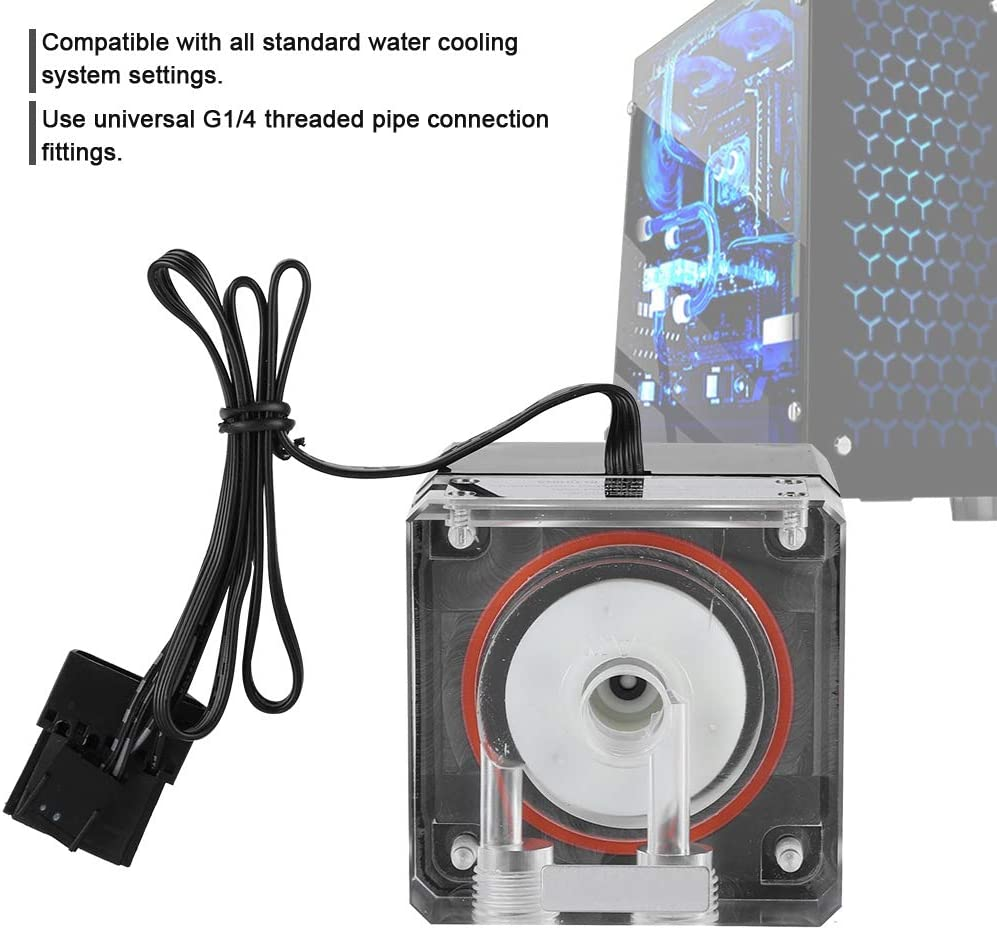 G1//4 3000RPM Fast Heat Dissipation PC Water Cooling Integrated Mute Water Pump 800L//H Flow 4M Pump Head Pokerty Water Cooling Pump