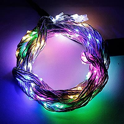 Zitrades christmas lights party string lights 200led for Outdoor indoor string lights led silver vine starry fairy multicolor decorative light, patio, Gardens, Christmas Trees, flower, decoration, Wedding, pink, bedroom with 12v power adapter