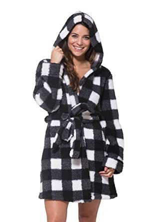 WallFlower Womens Plush Warm and Cozy Printed Hooded Robe Black S