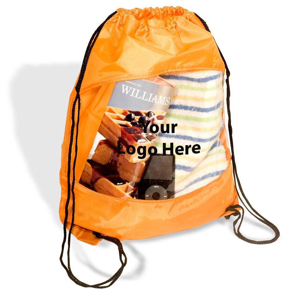 Clear View Drawstring Bag - 100 Quantity - $2.85 Each - PROMOTIONAL PRODUCT / BULK / BRANDED with YOUR LOGO / CUSTOMIZED by Sunrise Identity (Image #1)