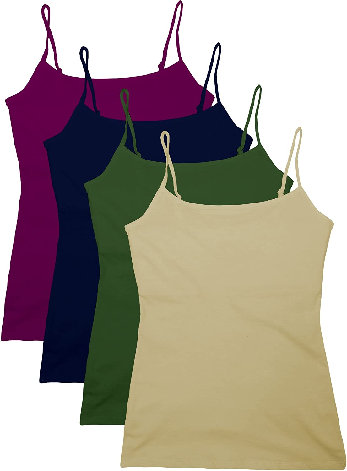 Active Women's 4 Pk Deal Short Camisole Satz with Fabric selbst Bra Support Top