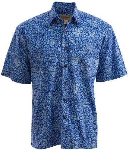 Johari West Moroccan Jazz Shirt,Blue, M, - Apparel Blue Batik