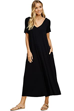 4633d2ca5689 Annabelle Women s Solid Knit Wide Leg Loose Relaxed Jumpsuit Black Medium  J8071