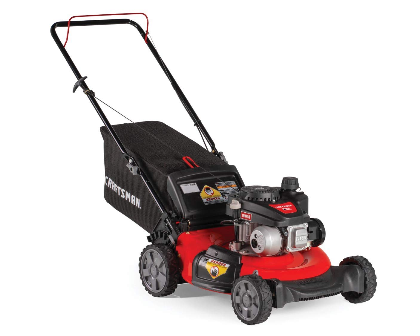 """Craftsman M105 140cc 21-Inch 3-in-1 Gas Powered Push Lawn Mower with Bagger, 1-in, Liberty Red 2 Your purchase includes One Craftsman M105 140cc Gas powered Push Lawn Mower, One bagger and engine oil Lawn Mower width – 21"""" 