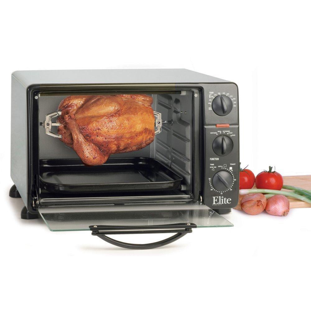 Elite Cuisine ERO-2008N Maxi-Matic 6-Slice Toaster Oven Broiler with Rotisserie, Black (Stainless Steel)