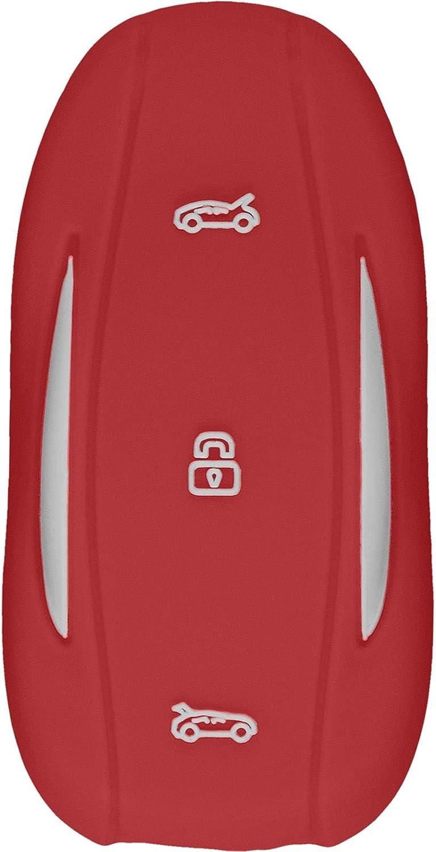 PhoneNatic Funda de Silicona para Mando de 3 Botones de Tesla Model S//X//3 en Rojo Llave Plegable de 3-Key