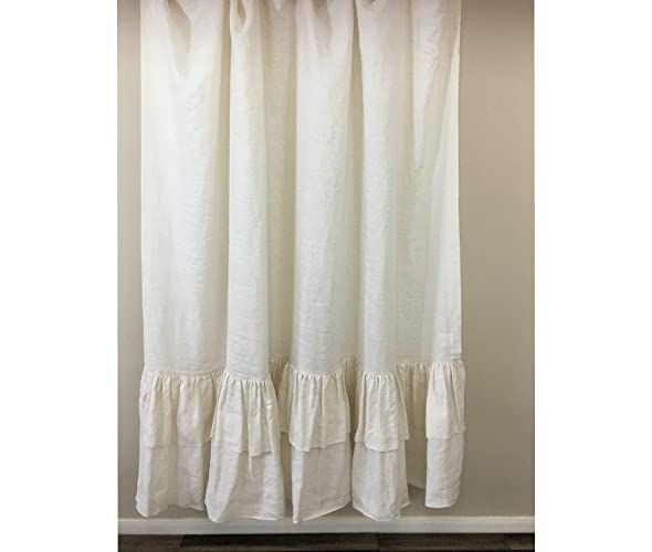 Cream Linen Shower Curtain With Double Layer Ruffles Fabulous Chic 72x72 72x85