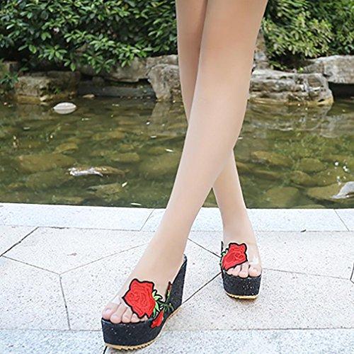 Voberry Sandalen, Frauen Dick-Bottom Schräge Hausschuhe Bestickt Hochhackige Keile Plateauschuhe Schwarz