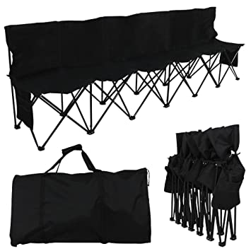 Prime Yaheetech 6 Seats Foldable Sideline Bench With Back For Sports Team Camping Folding Bench Chairs Blue Black Dailytribune Chair Design For Home Dailytribuneorg