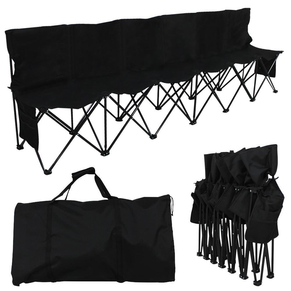 Yaheetech Portable 6 Seats Sport Sideline Folding Bench Soccer Team Bench with Carry Bag, 600D Oxford Double Layer Fabric, Black