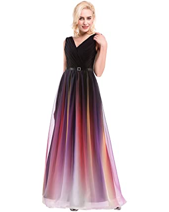 Amazon Formal Evening Multi Color Ball Gown V Neck Floor