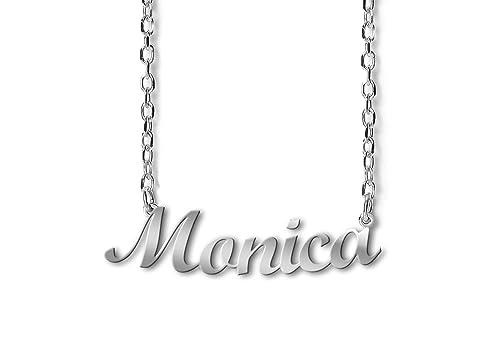 721001780d54 NOMISSIMO Collar con Nombre Monica de Plata 925 rodeado antialérgico. Hecho  en Italia. Modelo G10  Amazon.es  Joyería