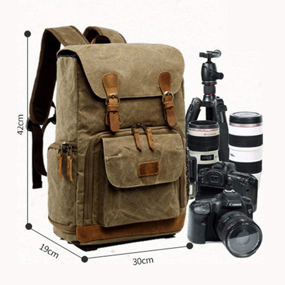 LOTONJT Waterproof Camera Bag Vintage Canvas SLR DSLR Camera Backpack Large Capacity Anti-Shock Camera Rucksack Camera Travel Bag Professional Camera Lens Organizer
