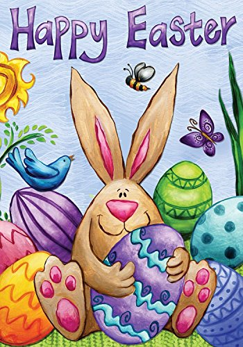 Happy Easter Bunny Garden Flag Eggs Birds Holiday Briarwood Lane 12.5