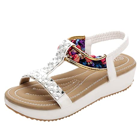 bfcf75f9cfb7e Amazon.com: Women's Floral Print Wedge Sandals, Zlolia Sequin Ankle Strap  Mid-Heel Open Toe Rubber Sole Slingback Platform Sandals: Kitchen & Dining