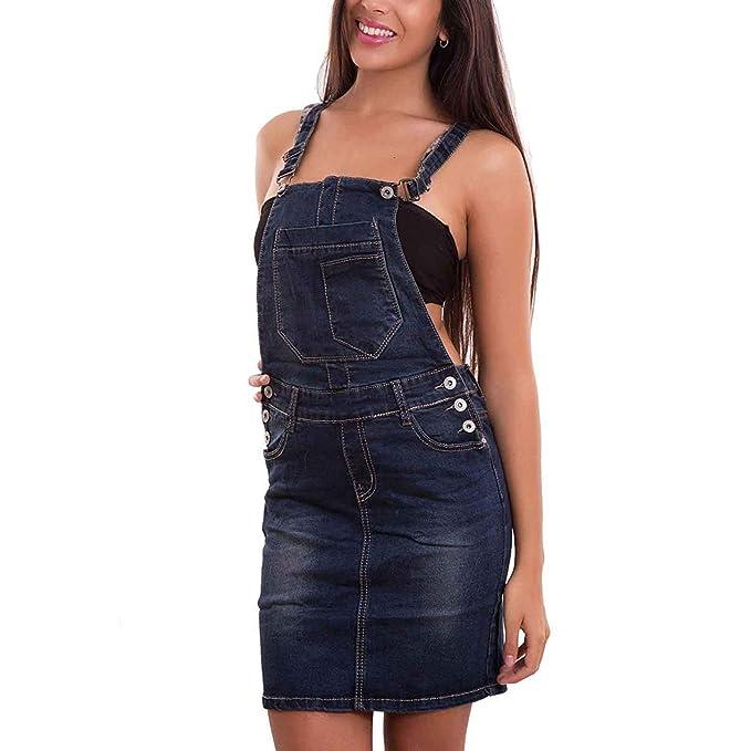 quality design d40b3 da667 Toocool Salopette Donna Jeans Overall Tuta Intera Tutina Gonna Mini Sexy  Nuova DF9601 [XS,Blu]
