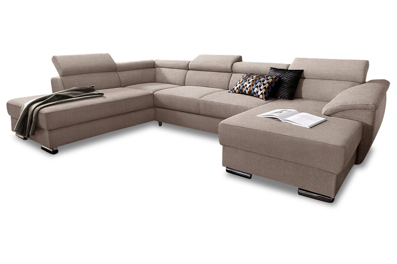 Sofa Wohnlandschaft David mit BETT - Webstoff Beige günstig bestellen
