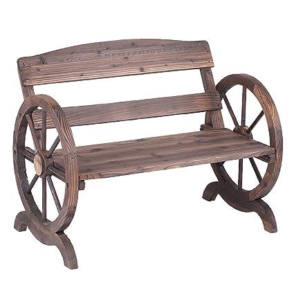 ikayaa para exteriores Banco de madera con respaldo estilo rústico y rueda de carro Patio muebles de jardín, 2 plazas: Amazon.es: Jardín