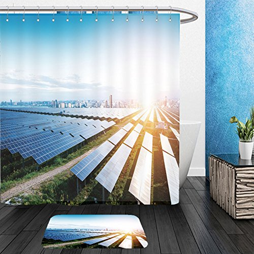 Vanfan Bathroom 2Suits 1 Shower Curtains & 1 Floor Mats solar panels with the sunny sky blue solar panels background of photovoltaic modules for 592950284 From Bath room by vanfan